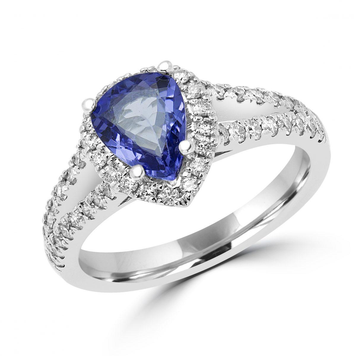 Diamond Halo Tanzanite: Tanzanite & Diamond Halo Ring In 14k White Gold