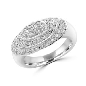 Pave cocktail fashion ring 0.52 (ctw) in 18k white gold