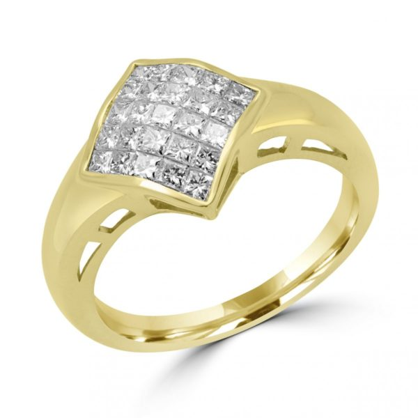 Princess cut diamond cocktail ring 0.95 (ctw) in 18k yellow gold