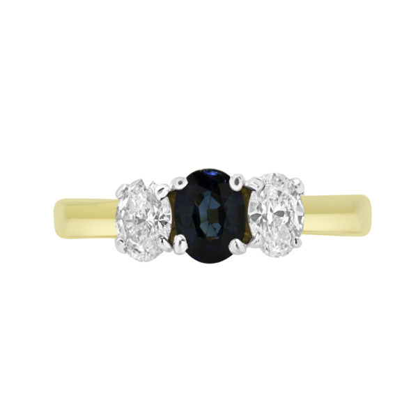 0.50 CT OVAL CUT DIAMOND AND 0.65 CT SAPPHIRE 3 STONE RING IN 14K YELLOW GOLD