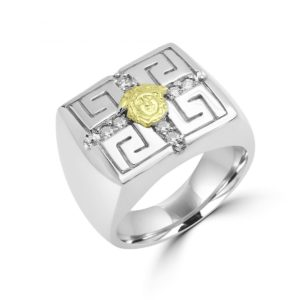 Men's greek key design ring 0.34 (ctw) in 10k white gold