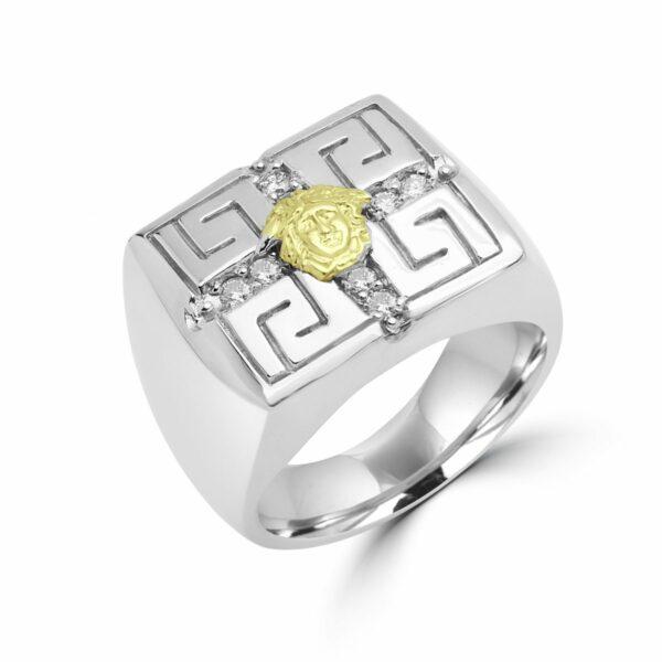 Men's greek key design ring 0.34 (ctw) in 10k white gold