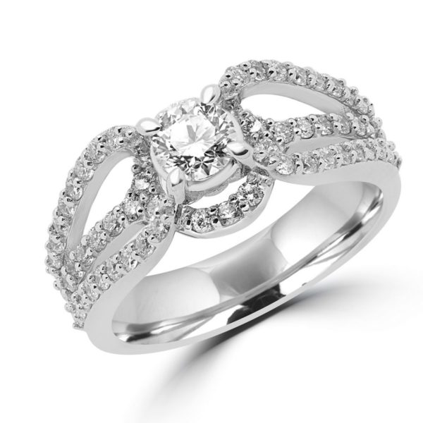 Bold halo engagement ring 1.18 (ctw) in 14k white gold