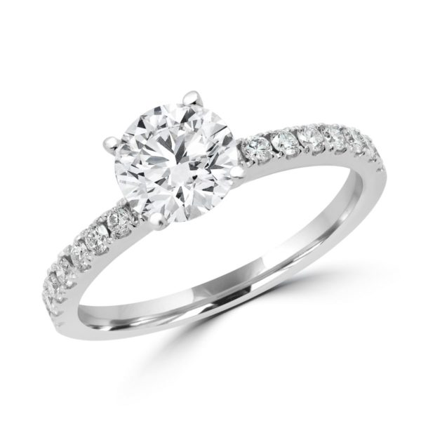Classic solitaire engagement ring center 1.03 ct side 0.34 ct in 14k white gold