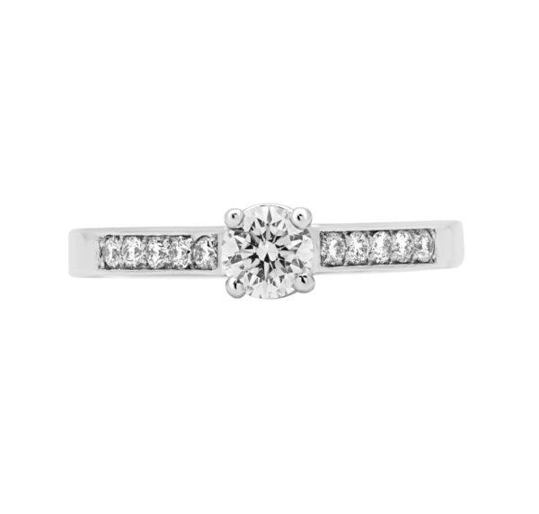 0.37+16 CT VS-SI ROUND BRILLIANT DIAMOND ENGAGEMENT RING IN 14K WHITE GOLD