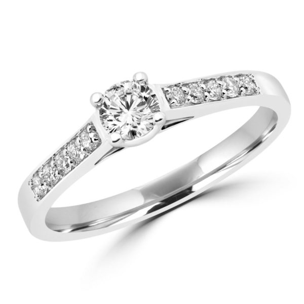 Round brilliant diamond engagement ring 0.53 (ctw) in 14k white gold