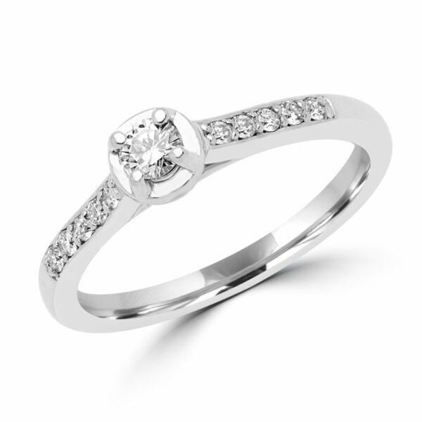 Sleek brilliant engagement ring 0.22 (ctw) in 14k white gold