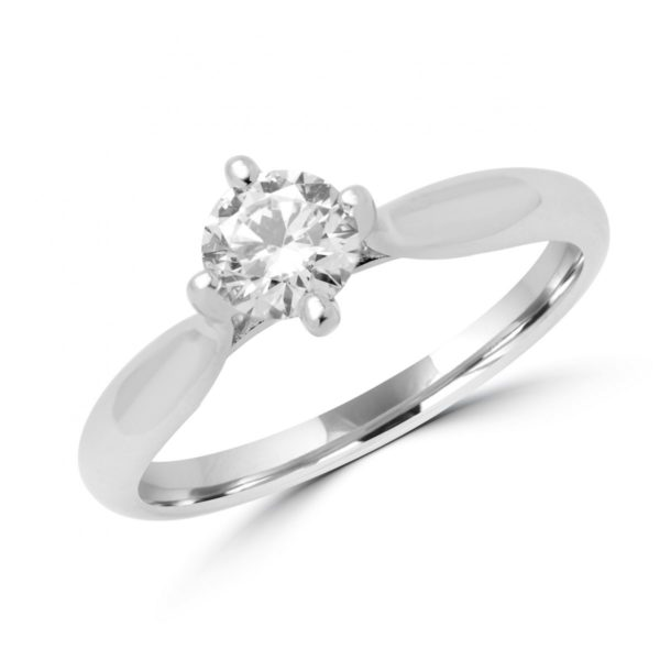 Eye catching solitaire engagement ring 0.51 (ctw)gia in 14k white gold