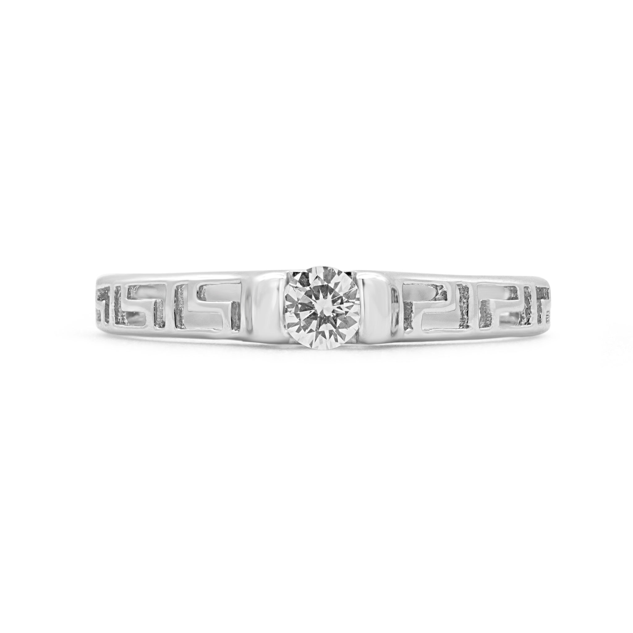 PRECIOUS GREEK KEY SOLITAIRE ENGAGEMENT RING IN 14K WHITE GOLD