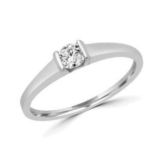 Round brilliant solitaire engagement ring 0.20 (ctw) in 14k white gold