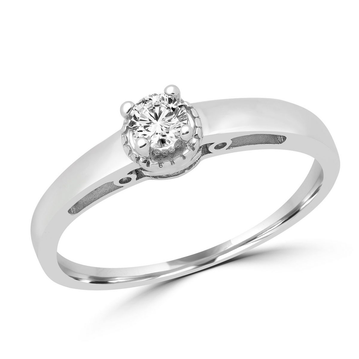 High Class Solitaire Engagement Ring 10k White Gold