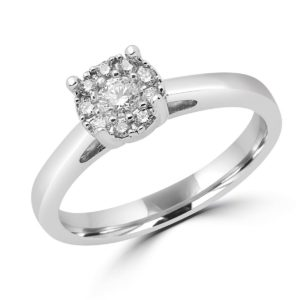 Round cut solitaire engagement ring 0.22 (ctw) in 14 k white gold