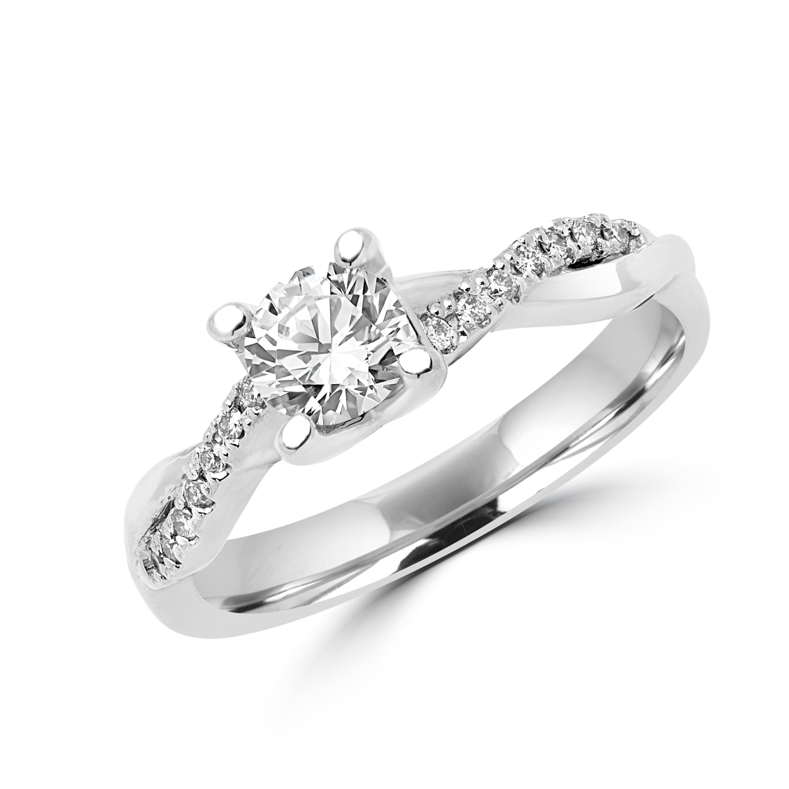 Twist of love engagement ring 1.14 (ctw) in 14k white gold