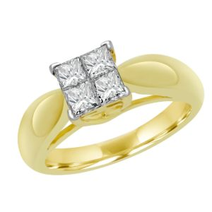 Princess cut solitaire engagement ring 0.80 (ctw) in 14k yellow gold