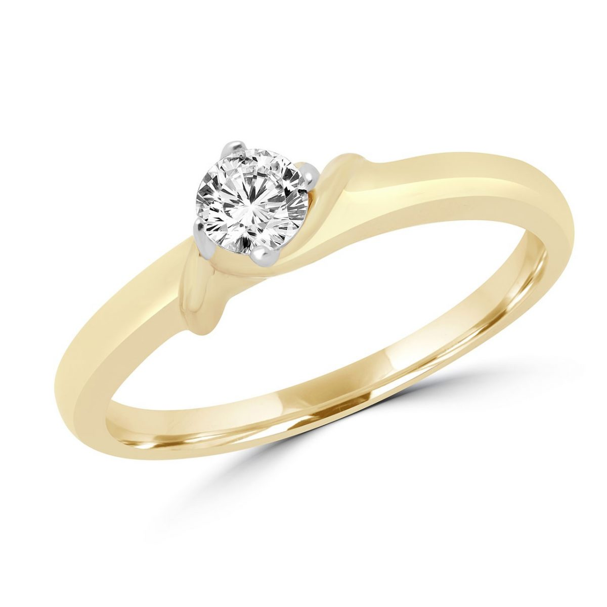 Fabulous Round Diamond Solitaire Engagement Ring In 14k