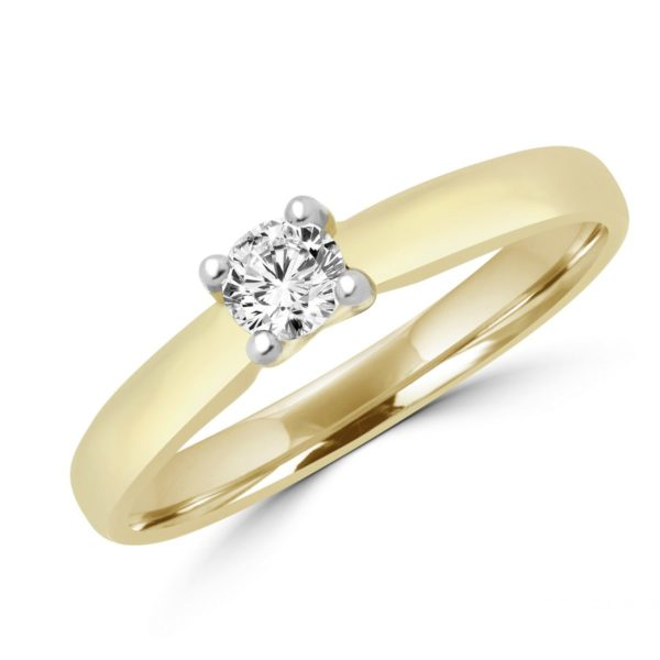 Elegant solitaire engagement ring in 14k yellow gold