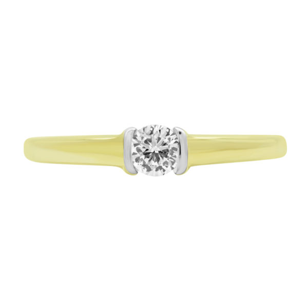 0.20 CARAT ROUND BRILLIANT DIAMOND SOLITAIRE ENGAGEMENT RING IN 14K YELLOW GOLD