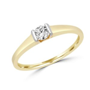 Round cut solitaire engagement ring 0.22 (ctw) in 14 k yellow gold