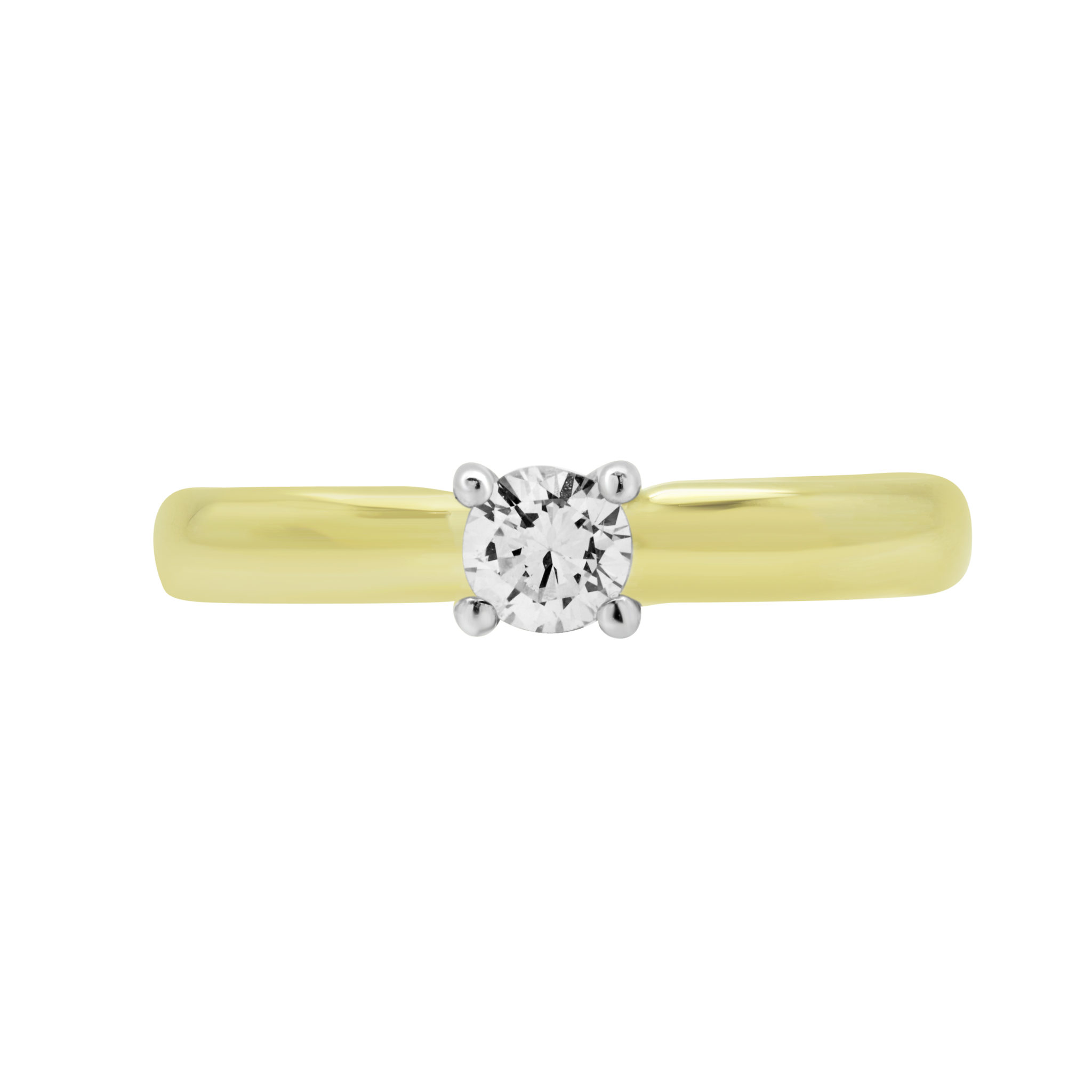 0.20 CARAT ROUND DIAMOND SOLITAIRE ENGAGEMENT RING IN 14K YELLOW GOLD