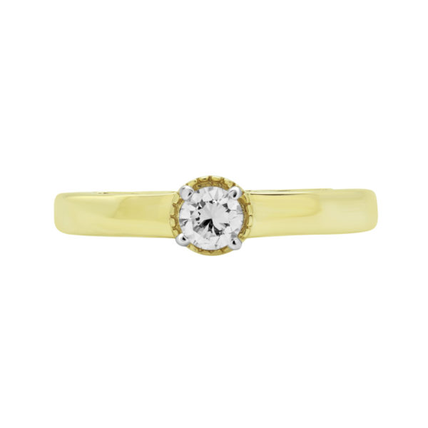 SPARKLING SOLITAIRE ENGAGEMENT RING IN 10K YELLOW GOLD