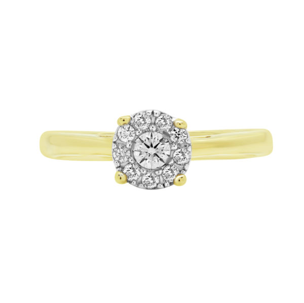 ROUND CUT DIAMOND 0.22 CT ACCENT HALO SOLITAIRE ENGAGEMENT RING IN 14K YELLOW GOLD