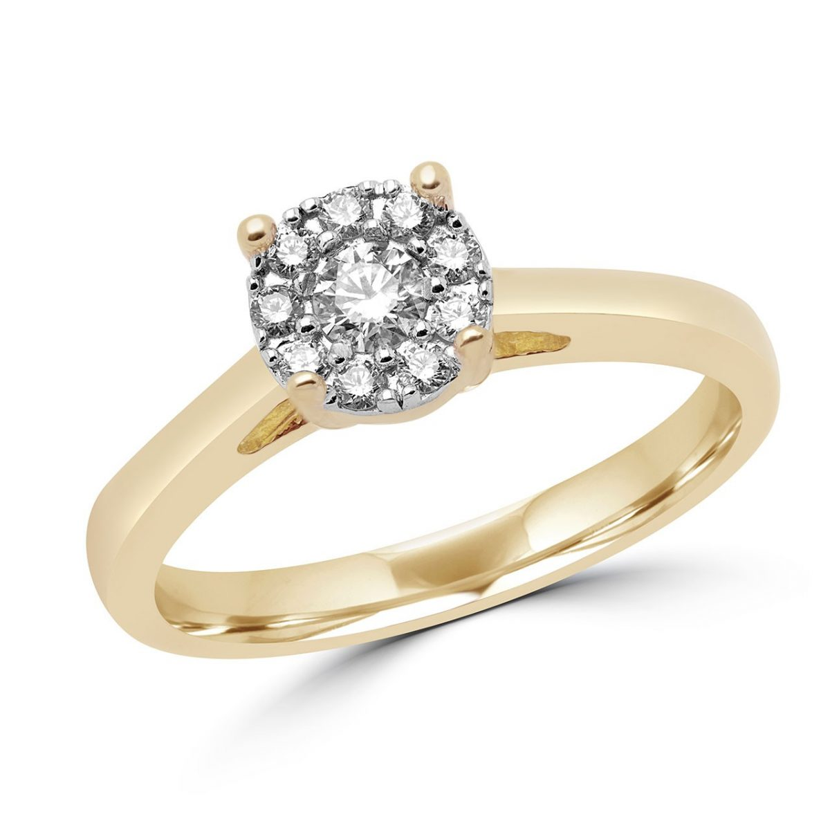 Round Diamonds 0.22 Ct Halo Solitaire Engagement Ring 14k