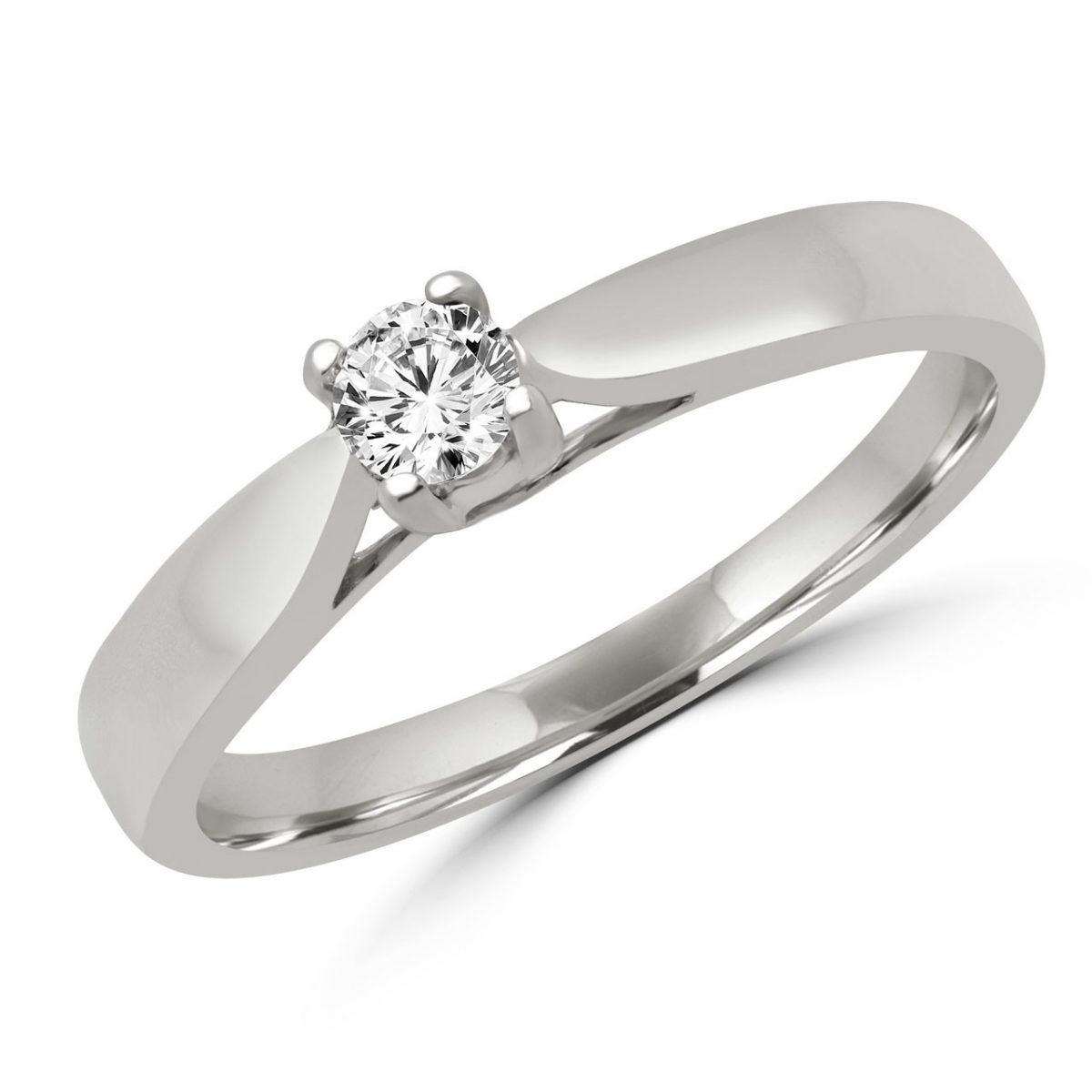 Lovely Solitaire Engagement Ring In 10k White Gold