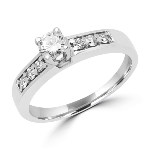 Impressive solitaire engagement ring 0.42 (ctw) in 14k white gold
