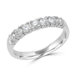0.60 CARAT (CTW) 7-STONE DIAMOND SEMI-ETERNITY WEDDING BAND ANNIVERSARY RING IN 14K WHITE GOLD