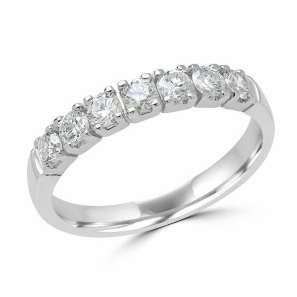 0.60 CARAT (CTW) 7-STONE DIAMOND SEMI-ETERNITY WEDDING BAND ANNIVERSARY RING IN 14K WHITE GOLD