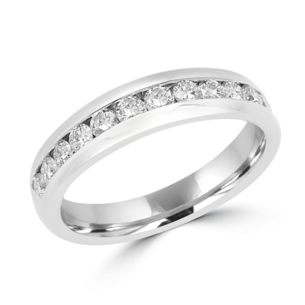 Channel set semi-eternity ring 0.53 (ctw) in 14k white gold