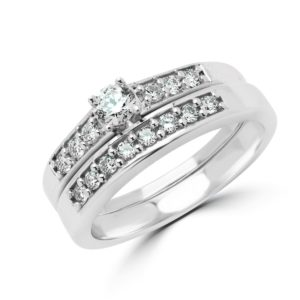 Engagement ring & wedding band bridal set 0.46 (ctw) in 14k white gold