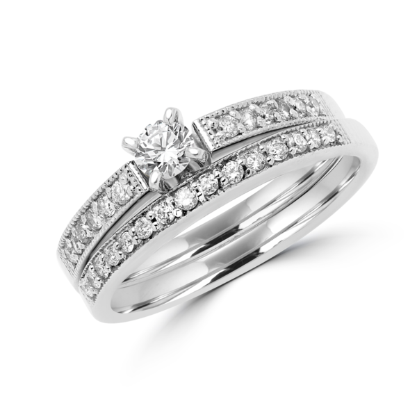 DIAMOND ENGAGEMENT RING AND WEDDING BAND BRIDAL SET IN 14K WHITE GOLD
