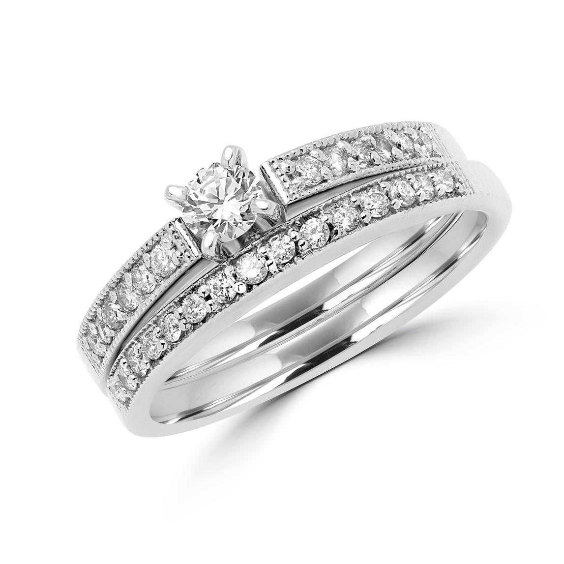 DIAMOND ENGAGEMENT RING AND WEDDING BAND BRIDAL SET IN 14K WHITE GOLD