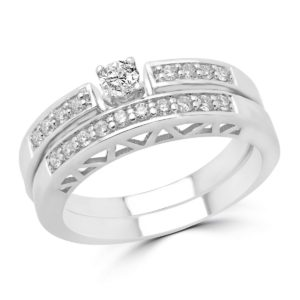 Engagement ring & wedding band bridal set 0.32 (ctw) in 14k white gold