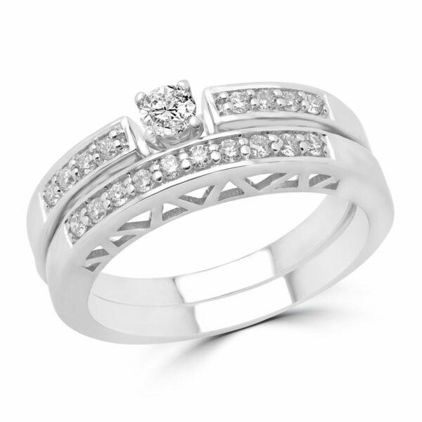 Engagement ring & wedding band bridal set 0.32 (ctw) in 14k white gold