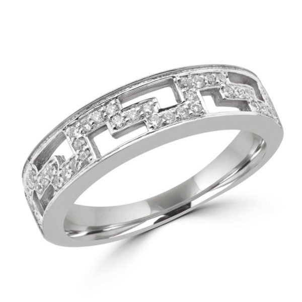 Greek key anniversary wedding band 0.20 (ctw) in 10k white gold