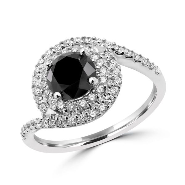 Black & white engagement ring 1.43 + 0.44 (ctw) in 14k white gold