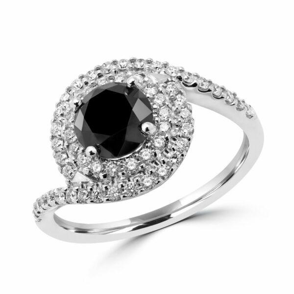 Black & white engagement ring 1.43 + 0.44 (ctw) in 14k white gold