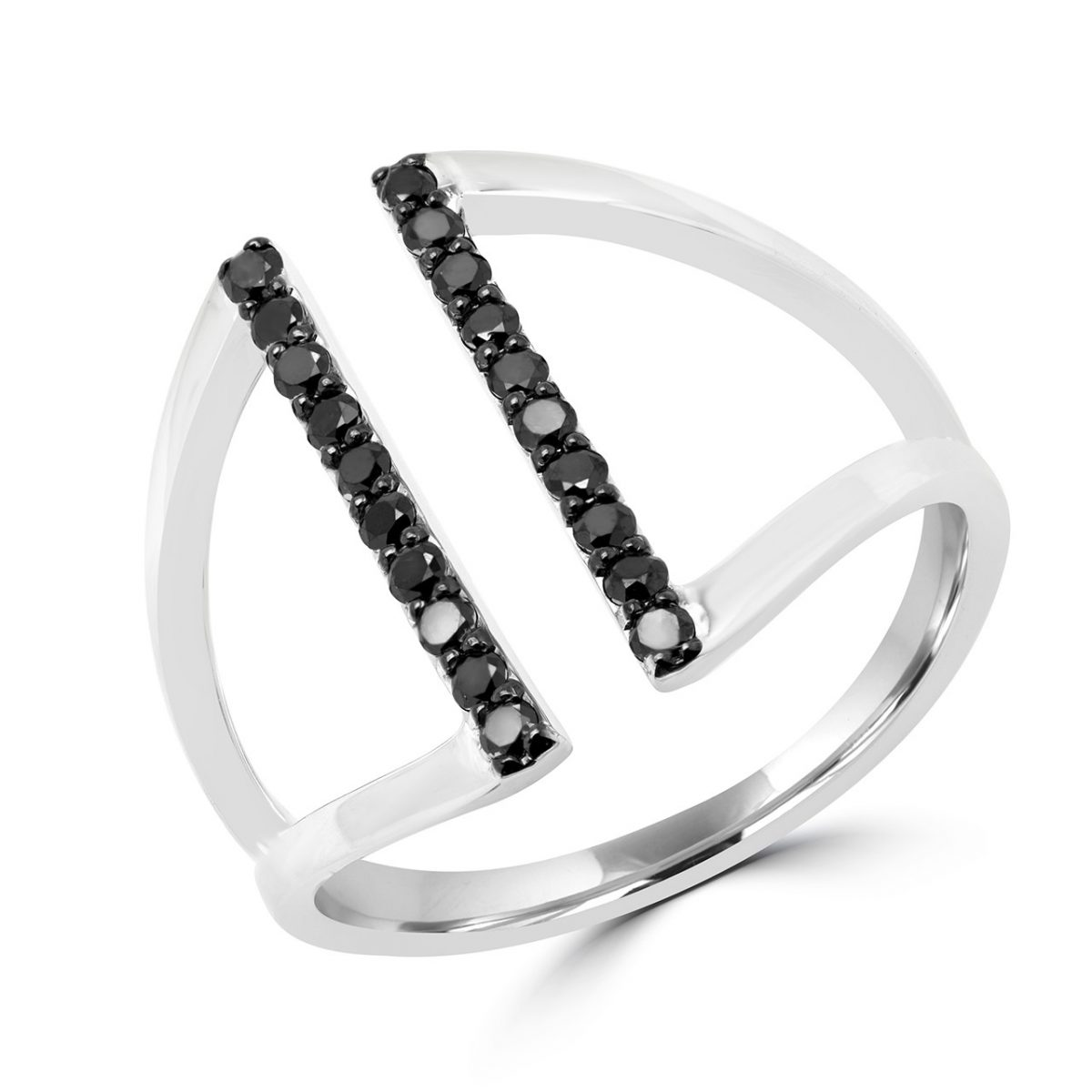 Trendy black diamond ring 0.20 (ctw) in 10k white gold
