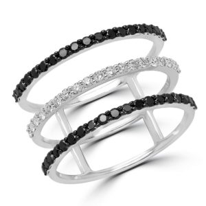 Three row black & white diamond ring 0.57 (ctw) in 10k white gold
