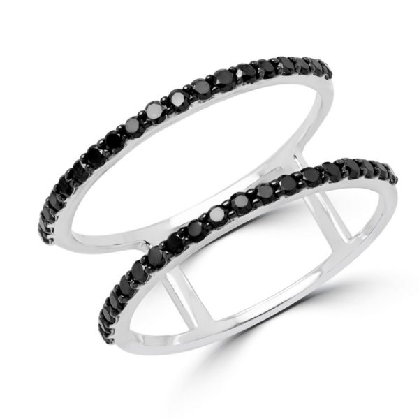 Two row black diamond ring 0.38 (ctw) in 14k white gold