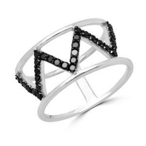 zig zag black diamond ring