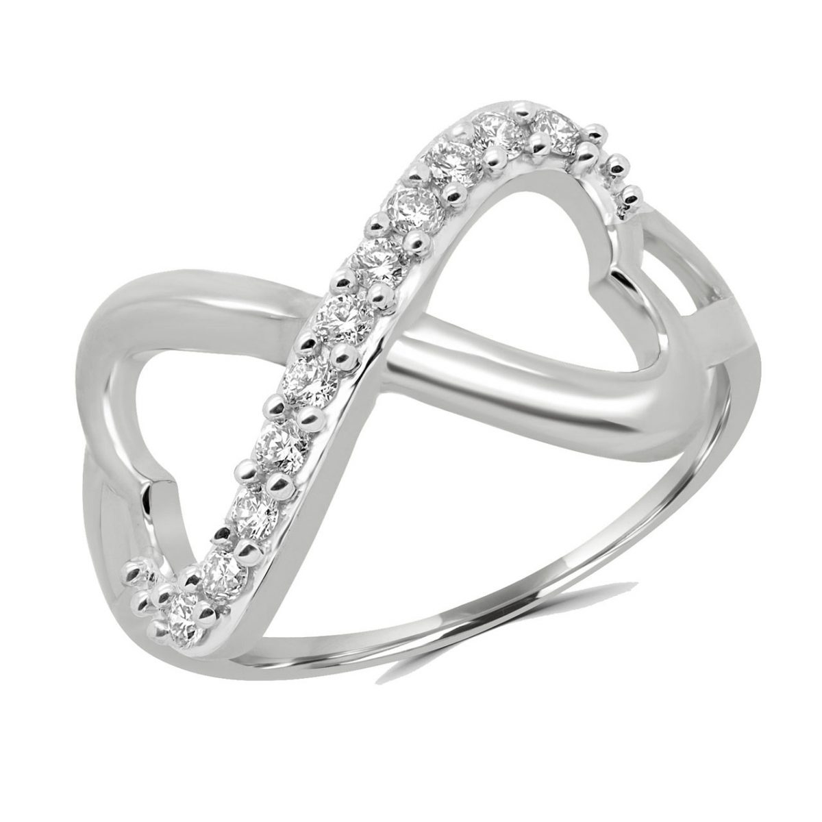 Infinity double heart ring 0.20 (ctw) in 10k white gold