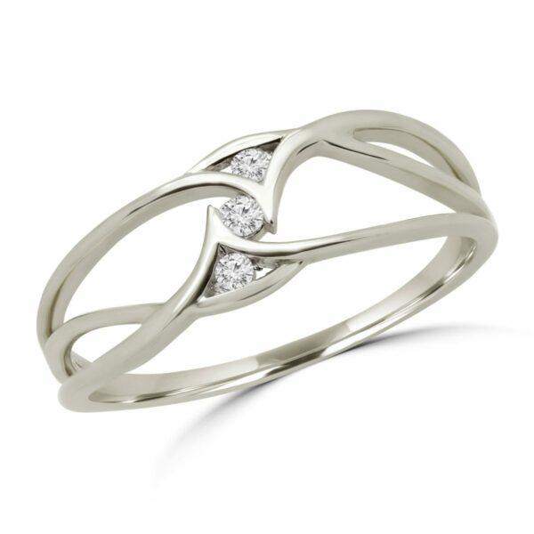 Charming 3 stones promise ring in 10k white gold