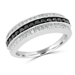 Black & white round princess cut diamond ring (1.05 ctw) in 14k white gold