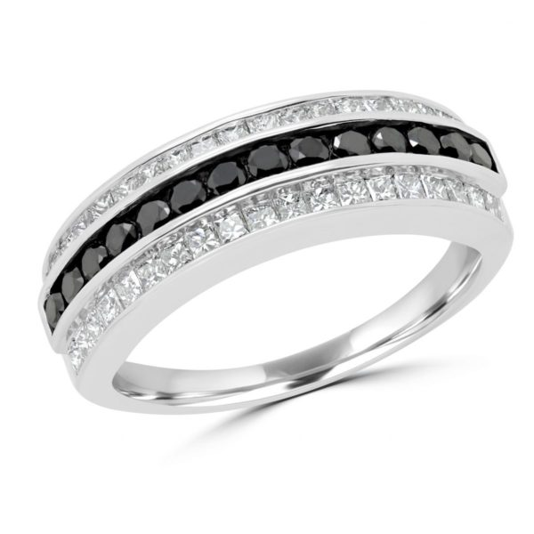 Black & white round princess cut diamond ring (1.05 ctw) in 14k white gold
