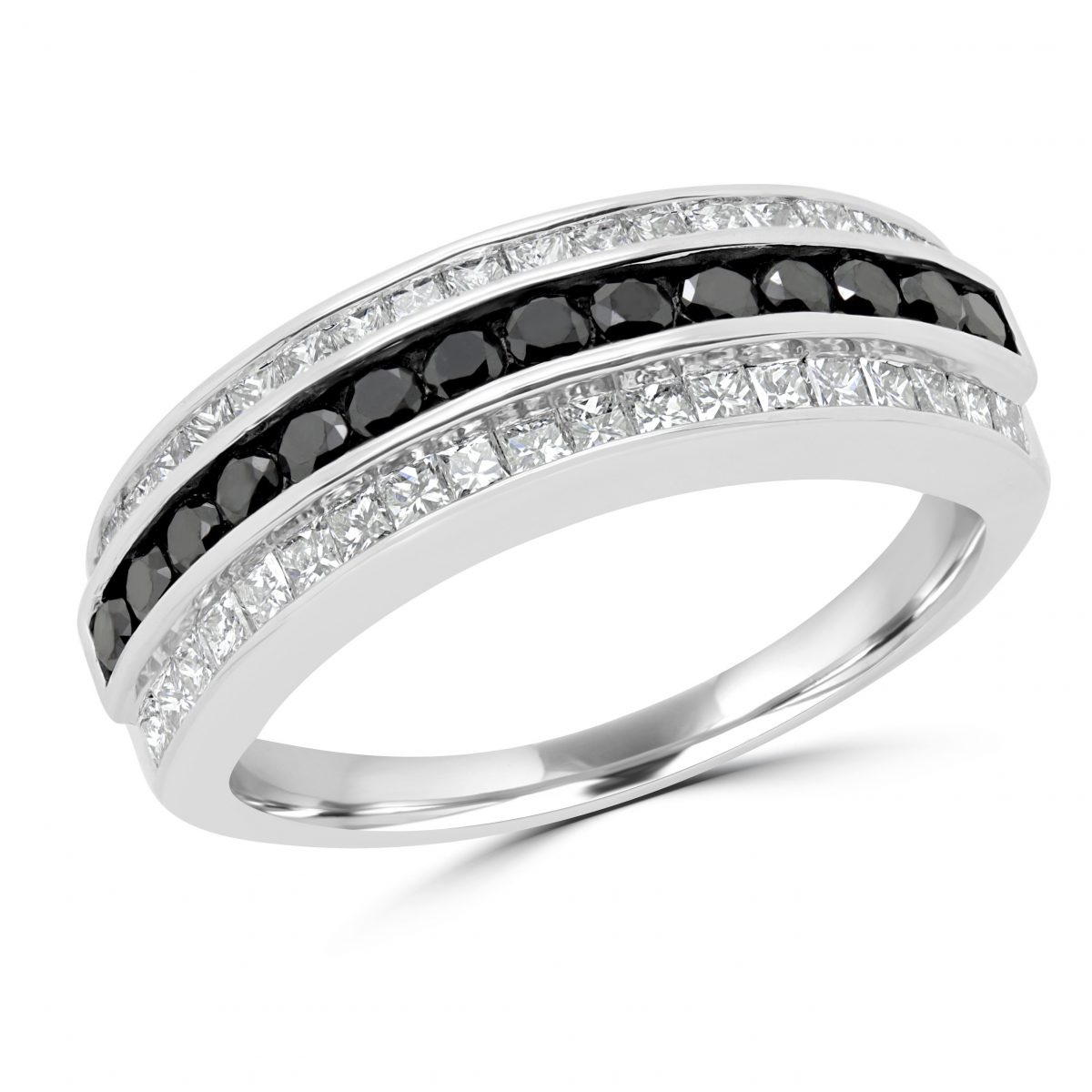 white oval engagement diamond tw gold in black ring and label forevermark