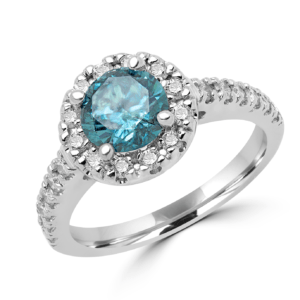 ENGAGEMENT HALO RING SOLITAIRE 1.01 CT ENHANCED BLUE+0.48 CT SI