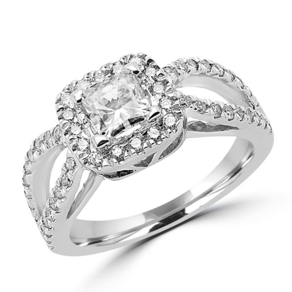 0.51 CT VS1 G GIA+0.52 CT SI ENGAGEMENT HALO RING 14K WHITE GOLD